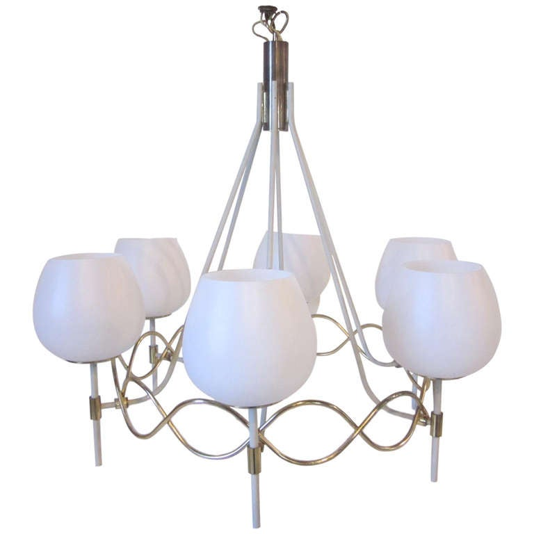 Jean Royere French Styled Lightolier Chandelier