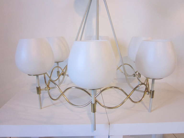 Mid-Century Modern French Styled Lightolier Chandelier For Sale