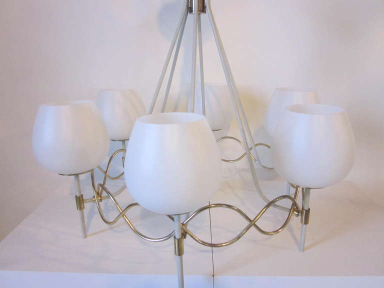 Metal French Styled Lightolier Chandelier For Sale