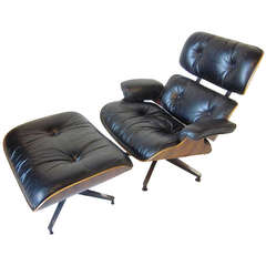 Brazilian Rosewood Eames Lounge with Ottoman