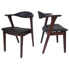 Povl Dinesen Leather and Teakwood Danish Chairs