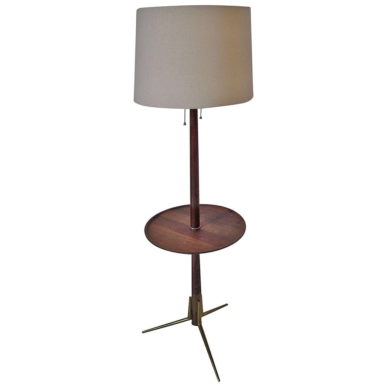 Brass and teak tripod floor lamp in the style of gerald for Tripod spotlight floor lamp in teak wood