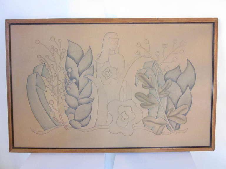 Art deco linoleum relief for sale at stdibs