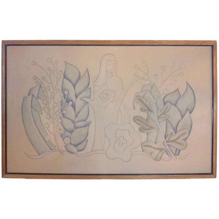 Art deco linoleum relief for sale at 1stdibs - Italian garden design ideas to make exquisite roman era garden ...