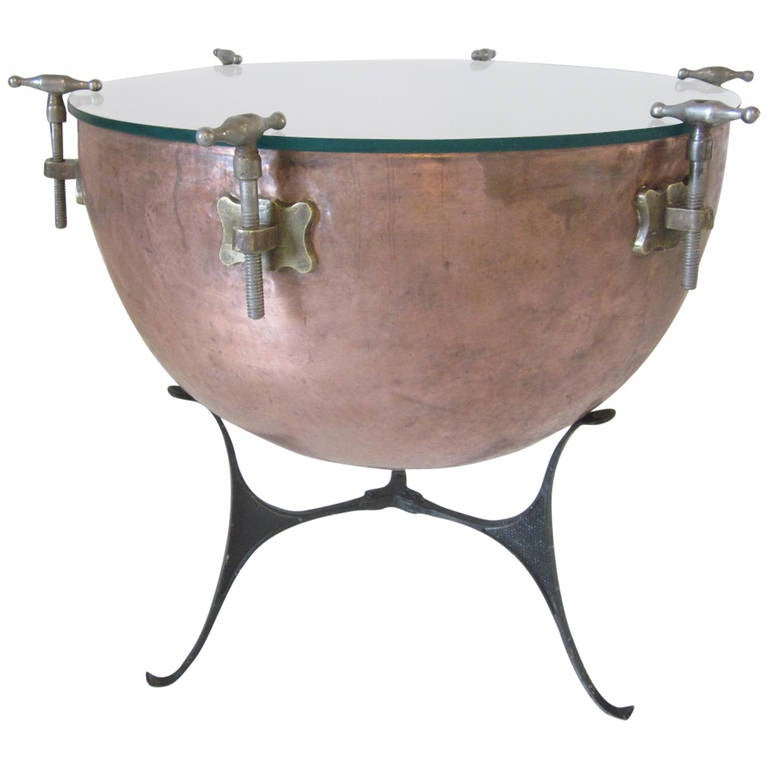 Copper Kettle Drum Coffee Table: Kettle Drum Side Table At 1stdibs