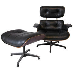 Plycraft Rosewood and Leather Eames Styled Lounge Chair