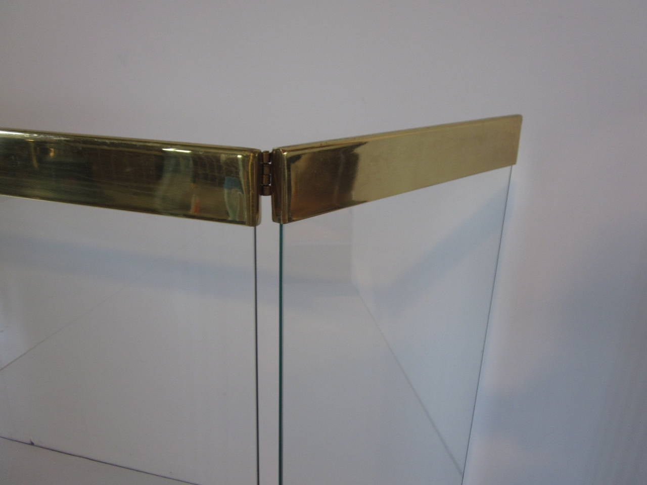 Folding Fire Guard Glass With Brass Trim