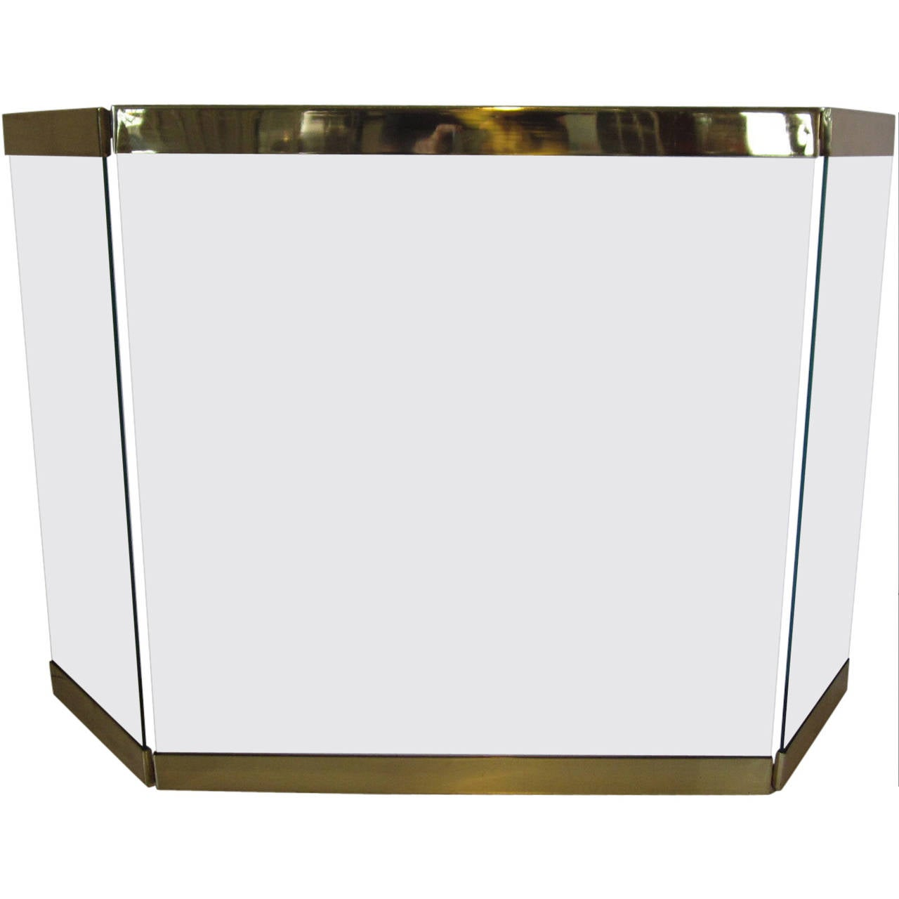 pace styled plate glass and brass fireplace screen for sale at 1stdibs