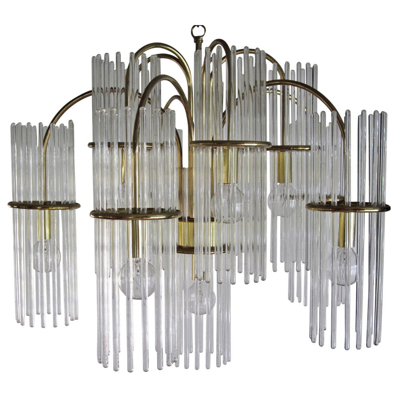 Gaetano Sciolari Crystal and Brass Chandelier
