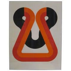 1970s Naomi Okuya Female Japanese Artist Litho on Paper