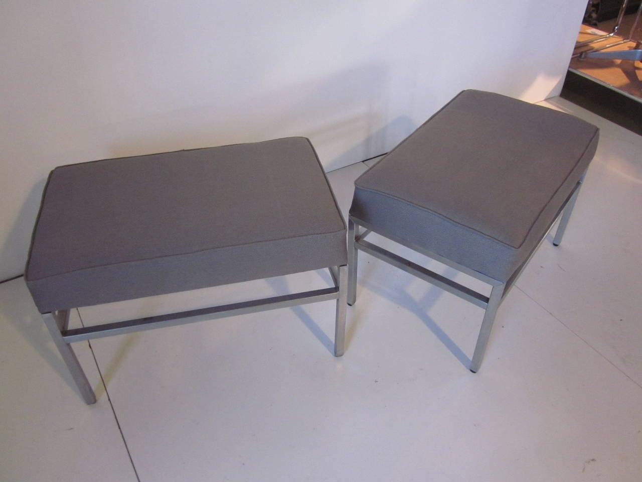 Industrial Upholstered Bench Or Stools At 1stdibs