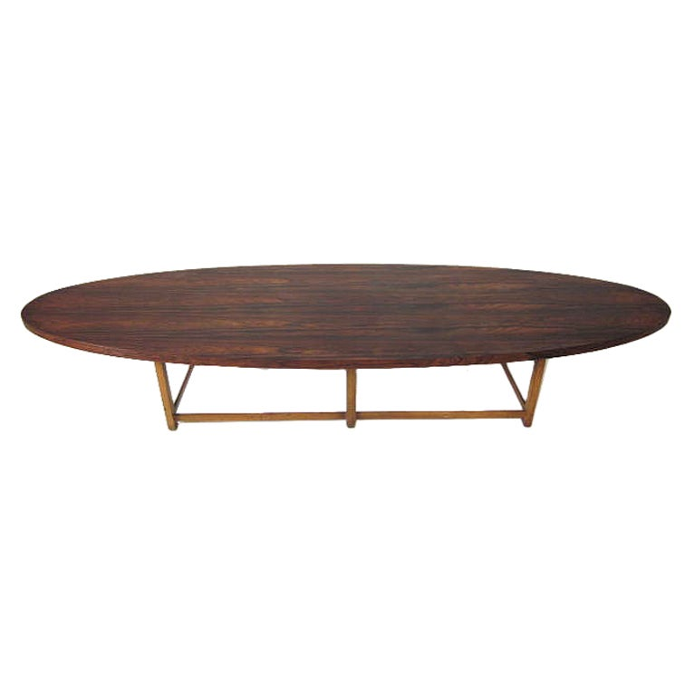 Paul Mccobb Rosewood Surfboard Table At 1stdibs