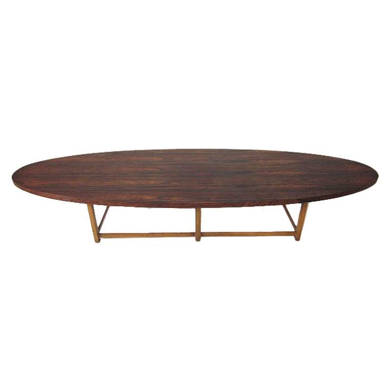 Paul Mccobb Rosewood Surfboard Table At 1stdibs