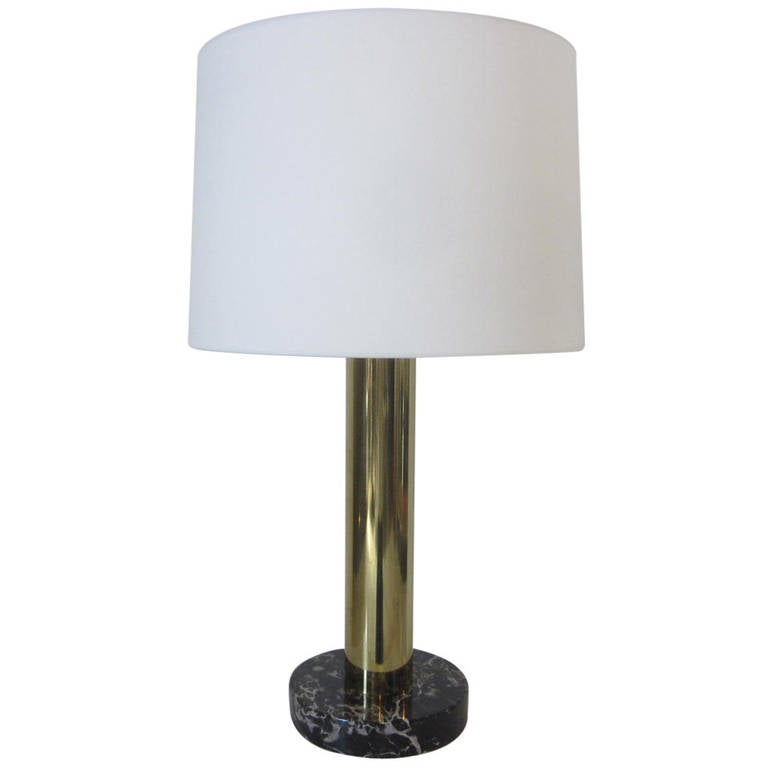 Nessen Brass and Marble Table Lamp