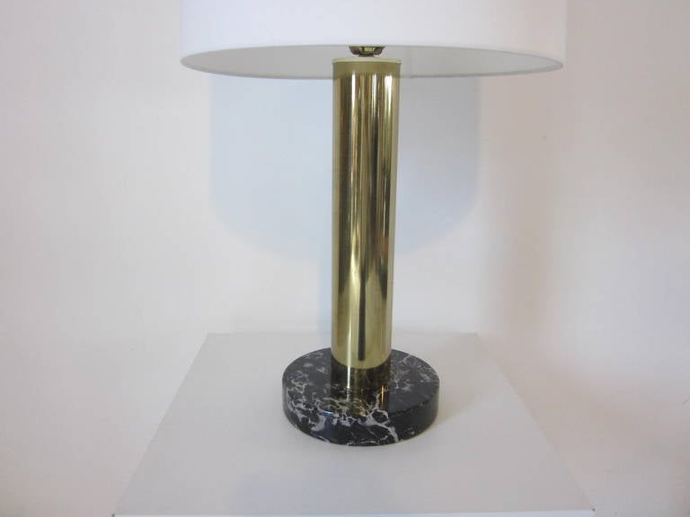 American Nessen Brass and Marble Table Lamp For Sale
