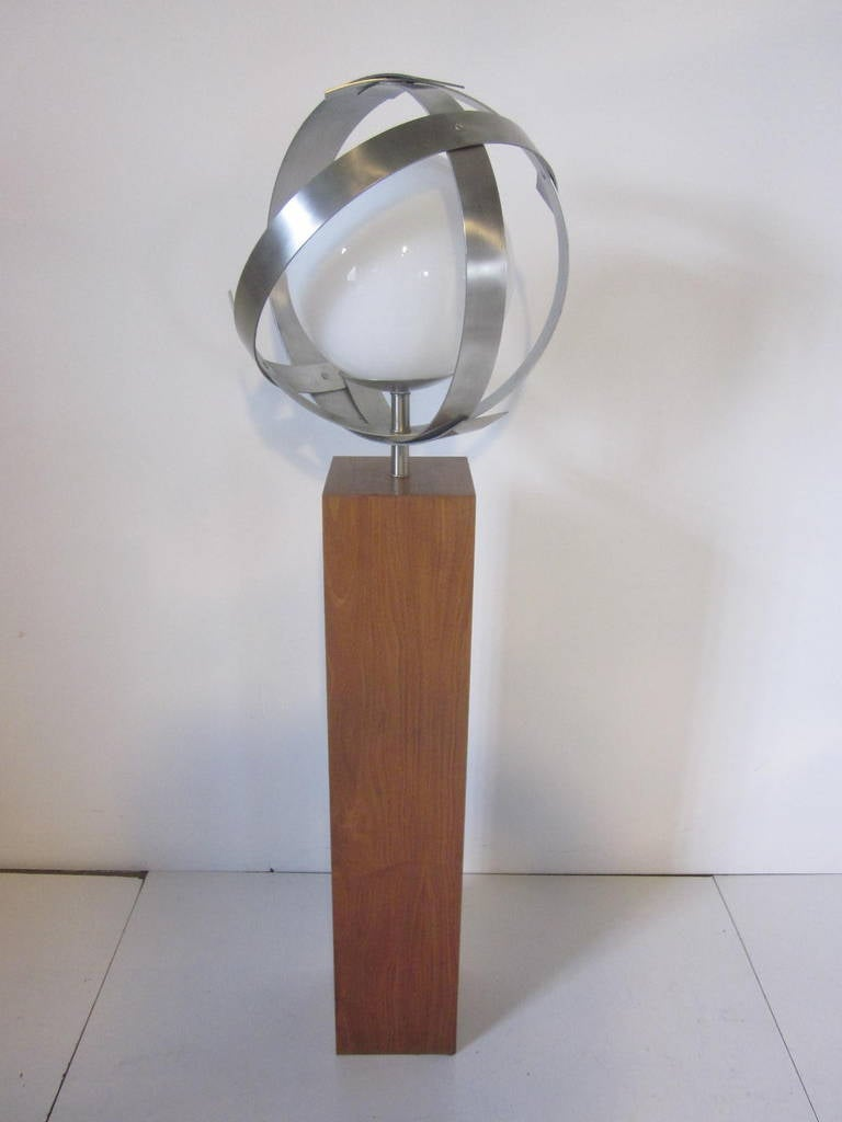 Laurel Walnut Floor Lamp with Sculptural Stainless Shade ...