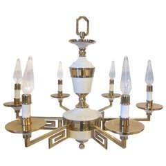 Regency Styled Greek Key Brass/ Porcelain Chandelier