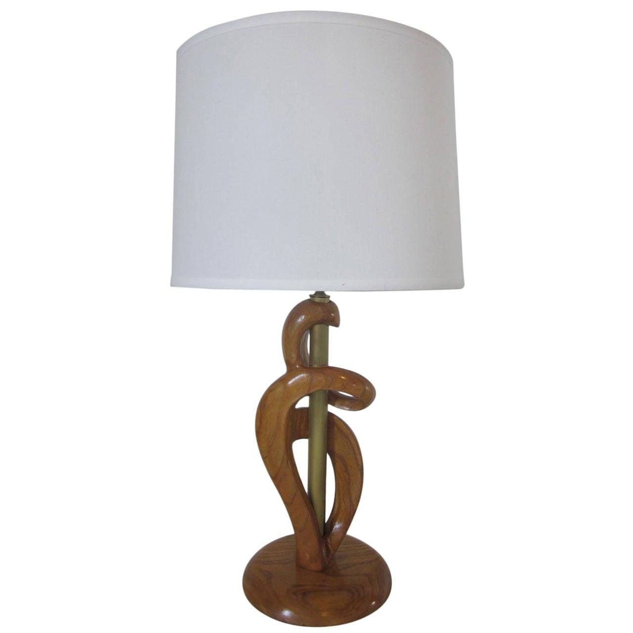 Heifetz Sculptural Wood and Brass Table Lamp