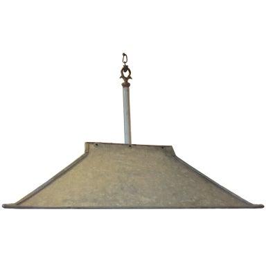 vintage galvanized metal light fixture at 1stdibs. Black Bedroom Furniture Sets. Home Design Ideas