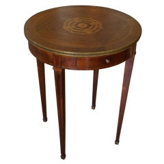 French Directoire Style Round Side Table In Mahogany