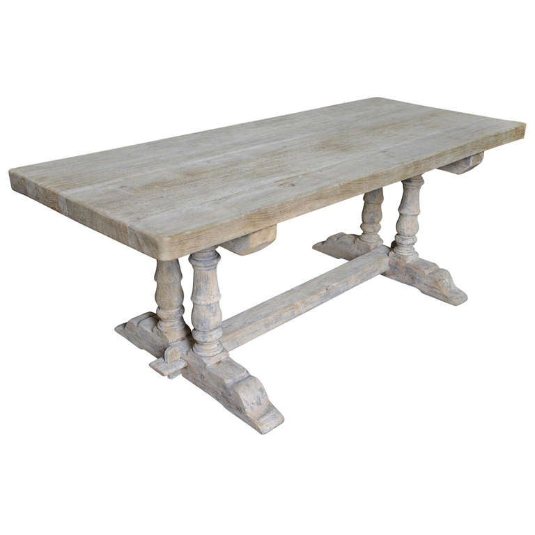 Mid 20th Century French Farm Trestle Table In Washed Oak  : 1018772l from 1stdibs.com size 768 x 768 jpeg 29kB