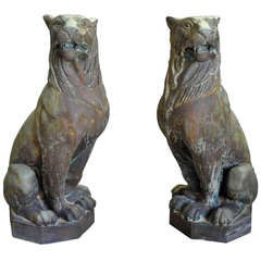 Pair of Mid-20th Century Exceptionally Large Italian Lions in Bronze