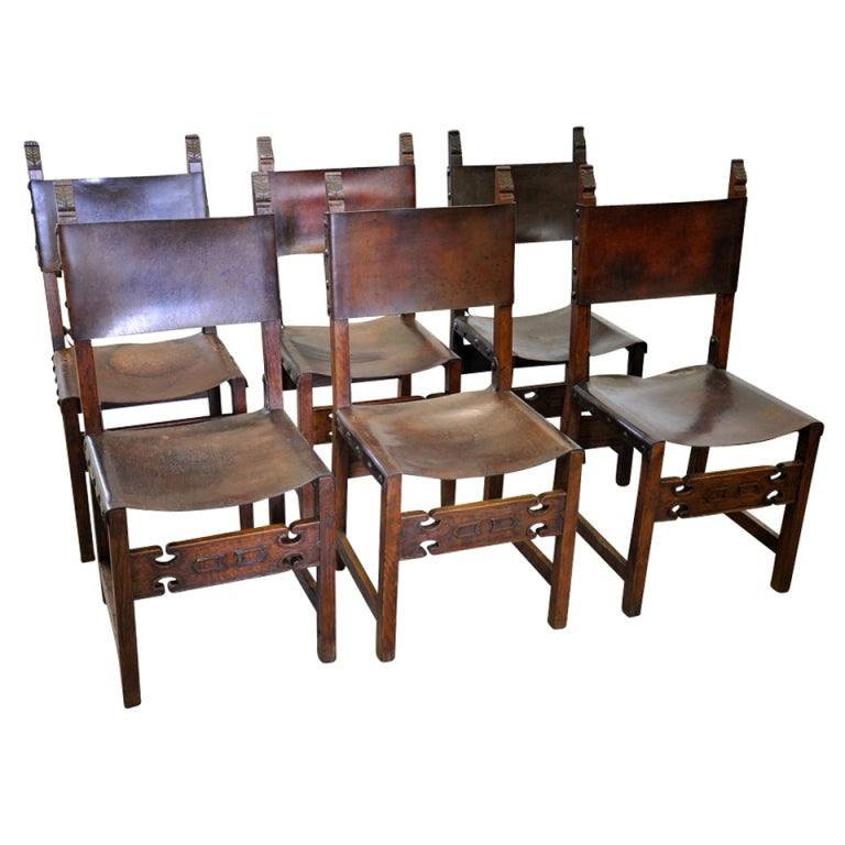 Set of Six Antique Renaissance Style Leather Dining Chairs