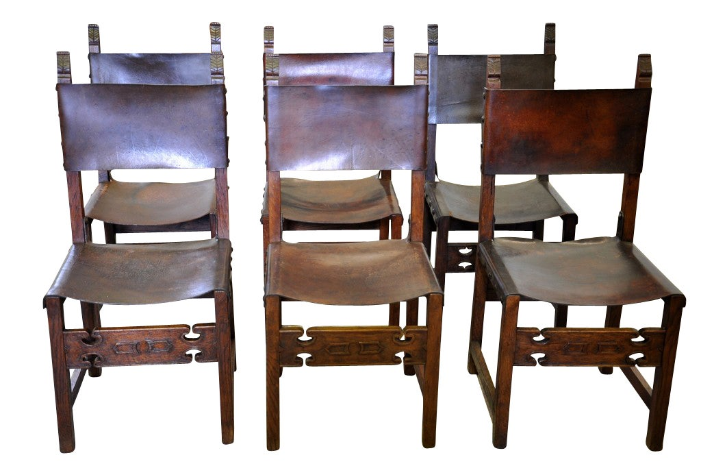 Set Of Six Antique Renaissance Style Leather Dining Chairs Image 2