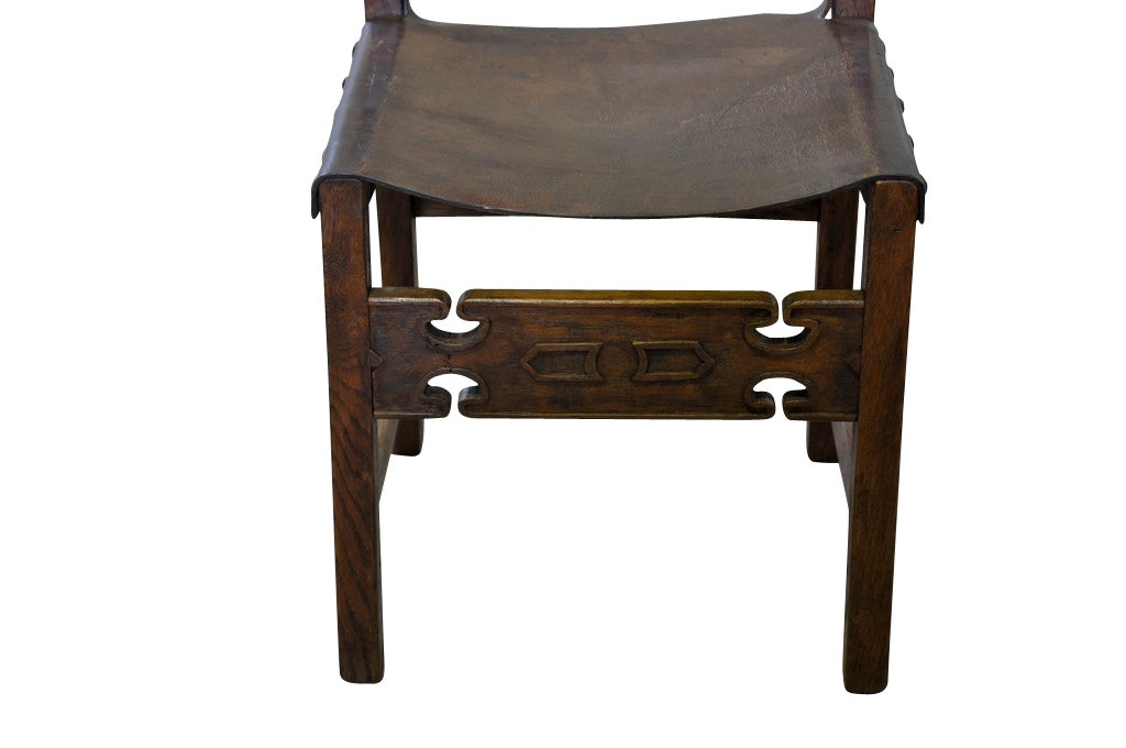Set Of Six Antique Renaissance Style Leather Dining Chairs At 1stdibs