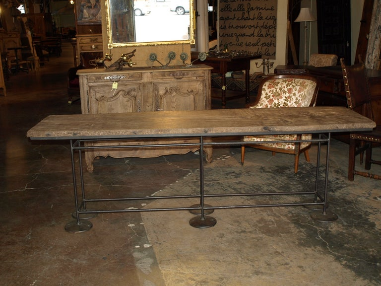 Industrial Work Table/Console in Oak and Iron For Sale