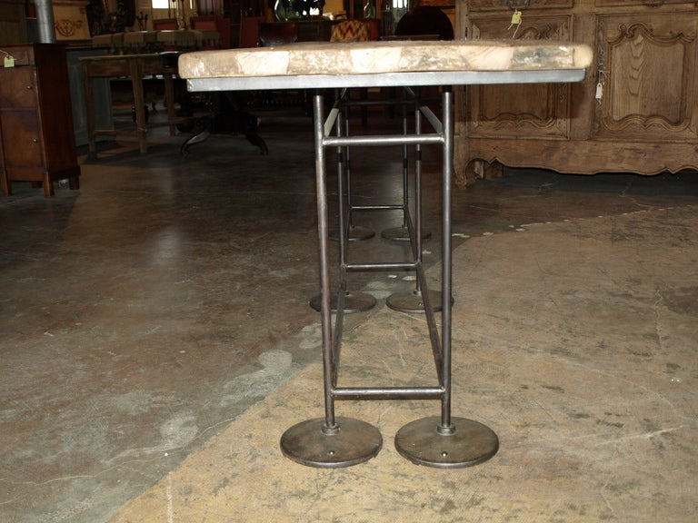 French Industrial Work Table/Console in Oak and Iron For Sale