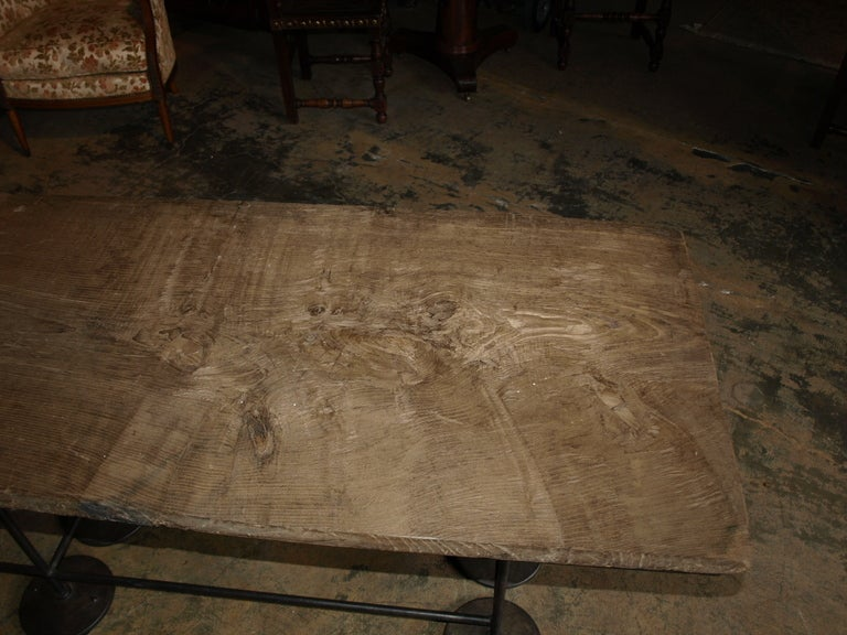Industrial Work Table/Console in Oak and Iron For Sale 1