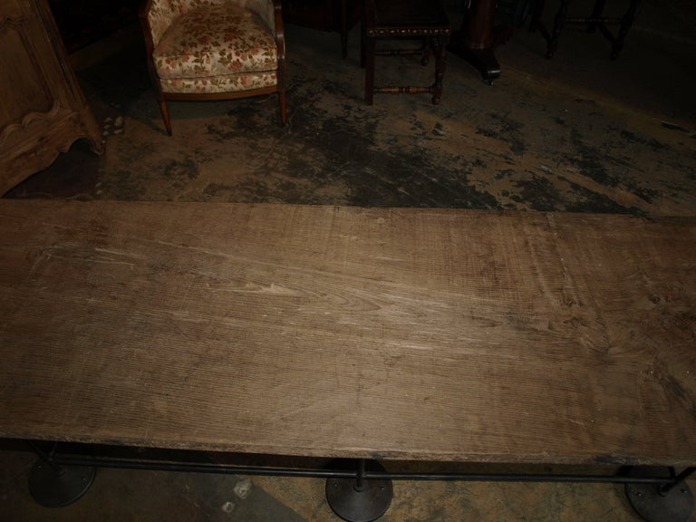 Industrial Work Table/Console in Oak and Iron For Sale 2