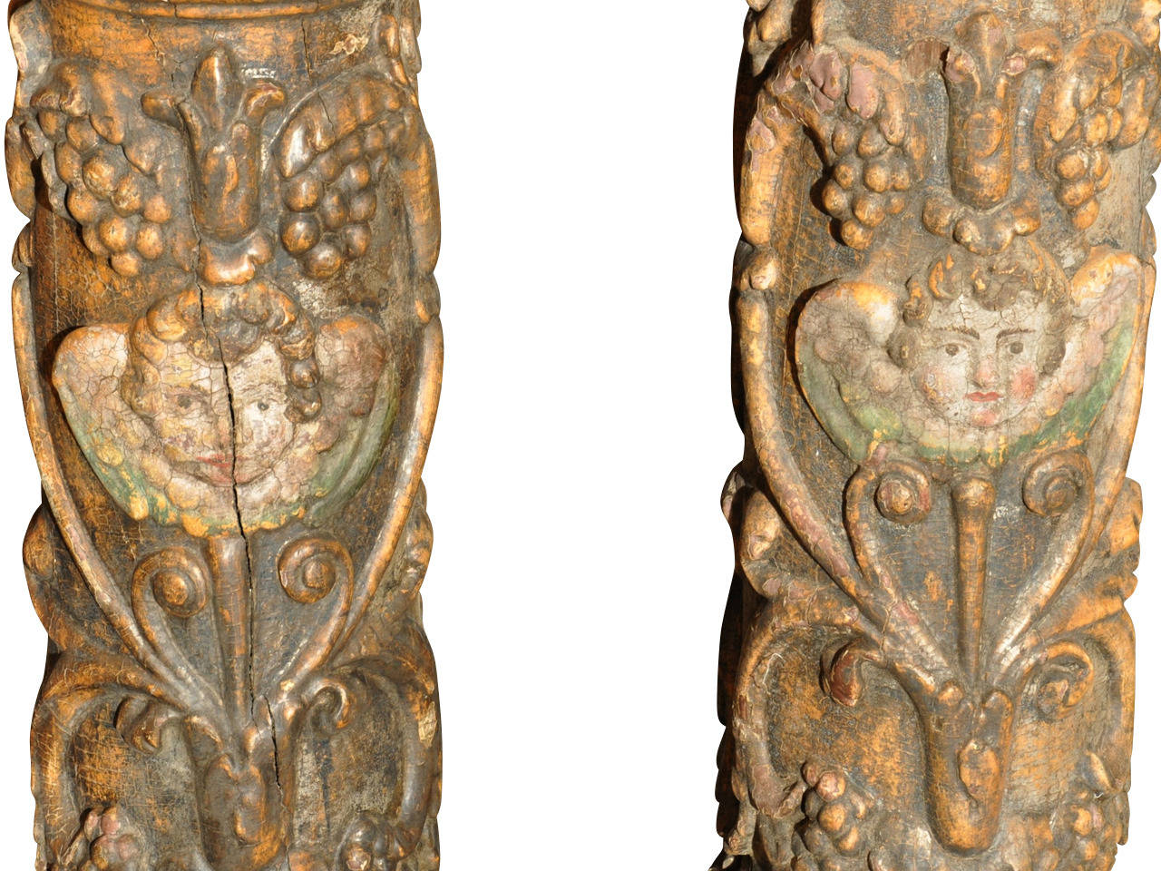 Oak Pair of 17th Century Spanish Wooden Columns For Sale