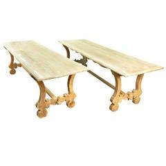 Pair of Late 19th Century Spanish Farm Trestle Tables