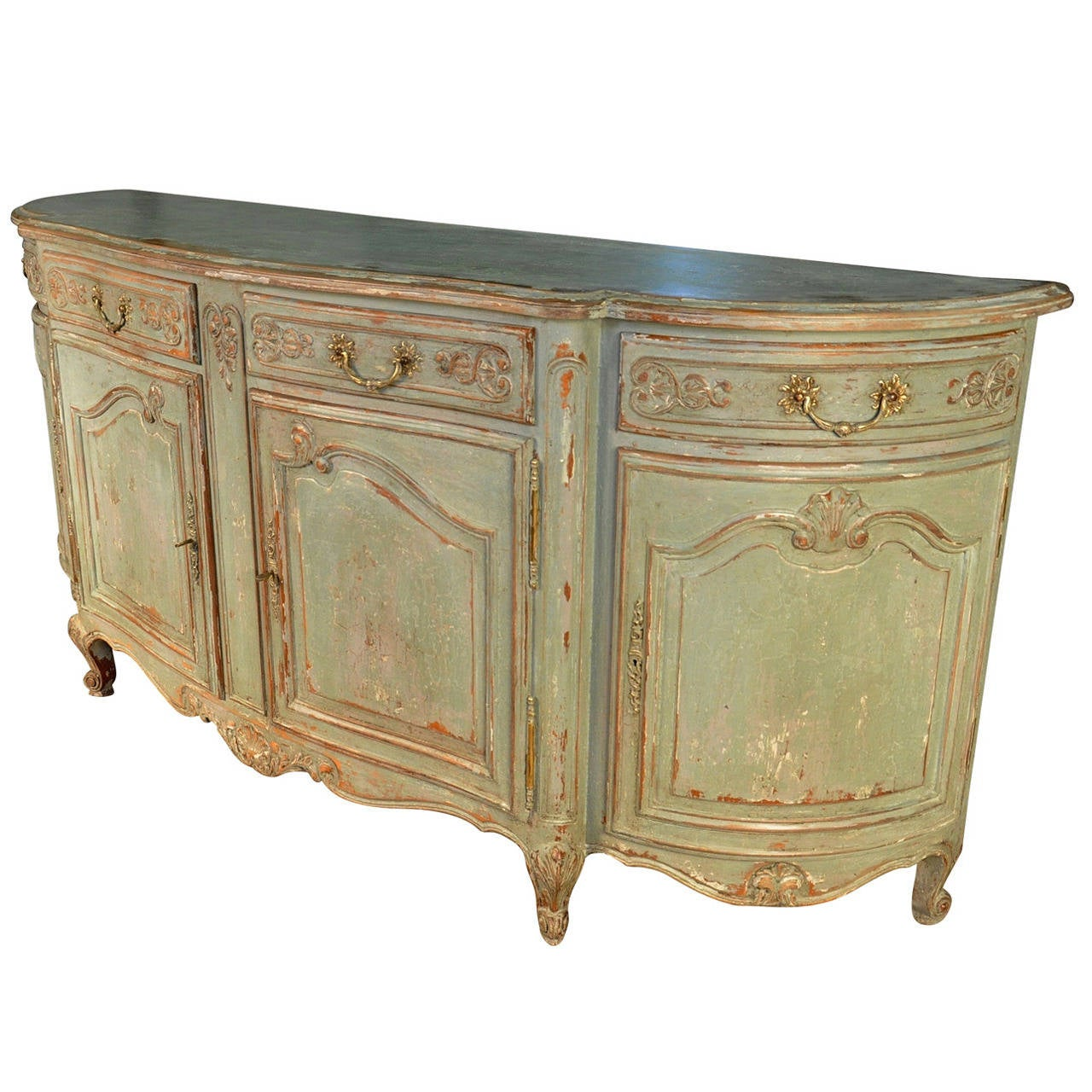 french provencal painted enfilade buffet at 1stdibs. Black Bedroom Furniture Sets. Home Design Ideas