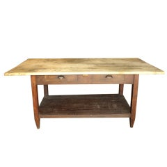 French Two Drawer Work Table in Chestnut and Bleached Pine