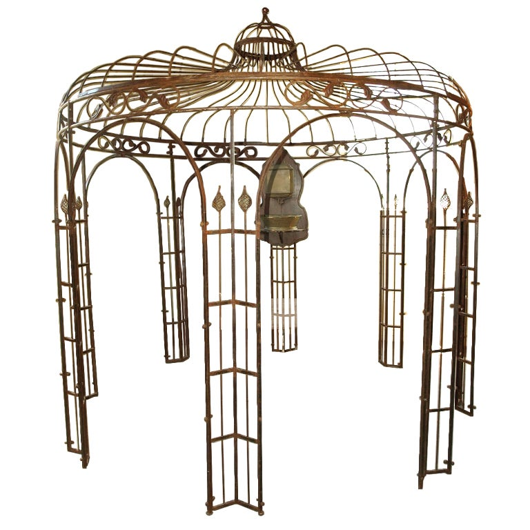 round iron gazebo in rust finish at 1stdibs. Black Bedroom Furniture Sets. Home Design Ideas