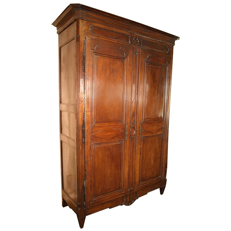 french antique louis xvi style armoire in walnut at 1stdibs. Black Bedroom Furniture Sets. Home Design Ideas