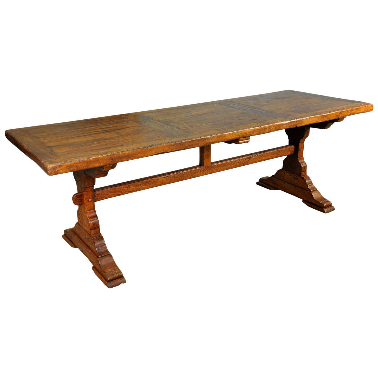 19th Century French Farm or Trestle Table in Walnut at 1stdibs