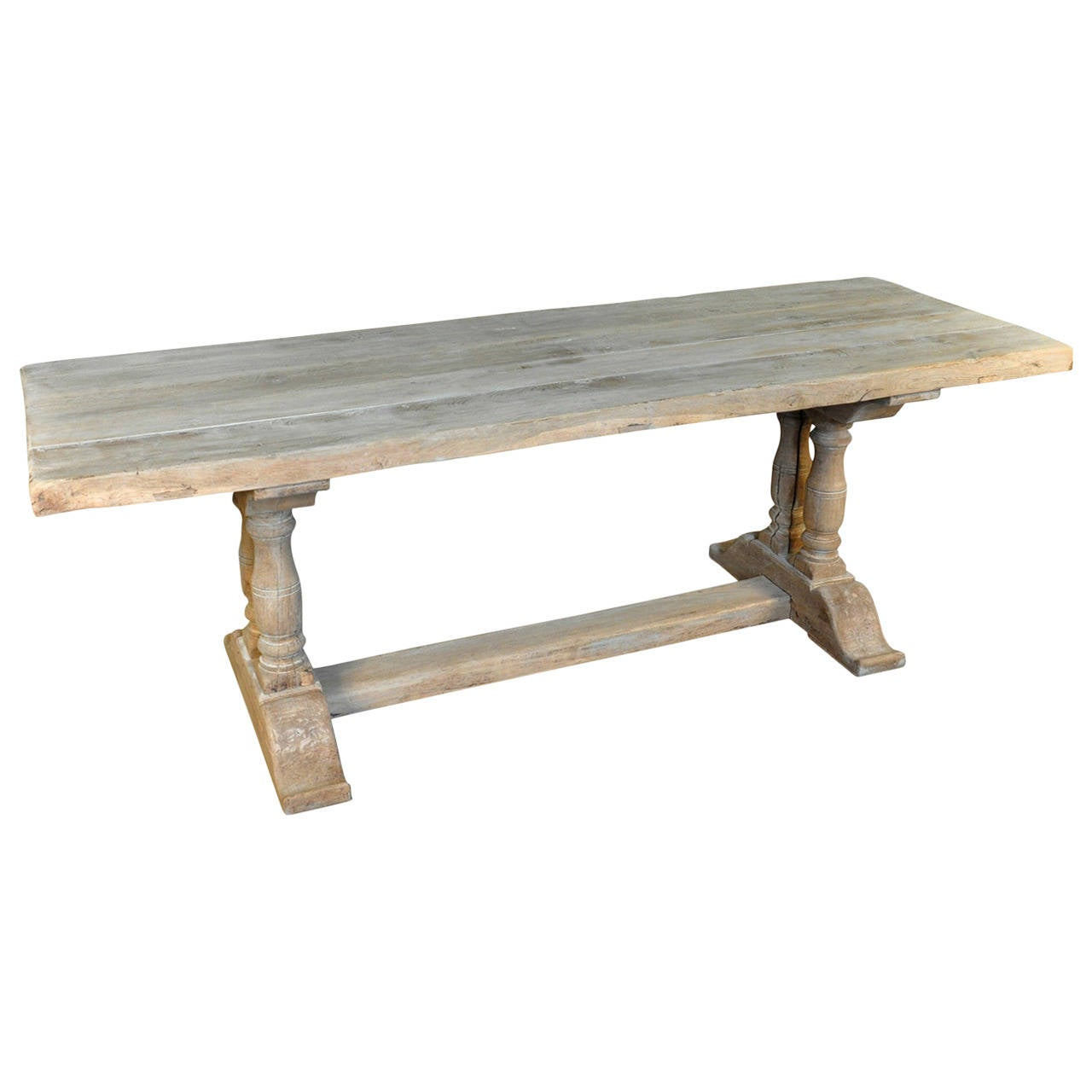 French 19th Century Farm Or Trestle Table In Bleached Oak 1