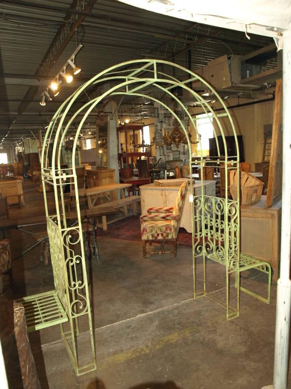 Double Bench Arbor In Antique Green Finish At 1stdibs