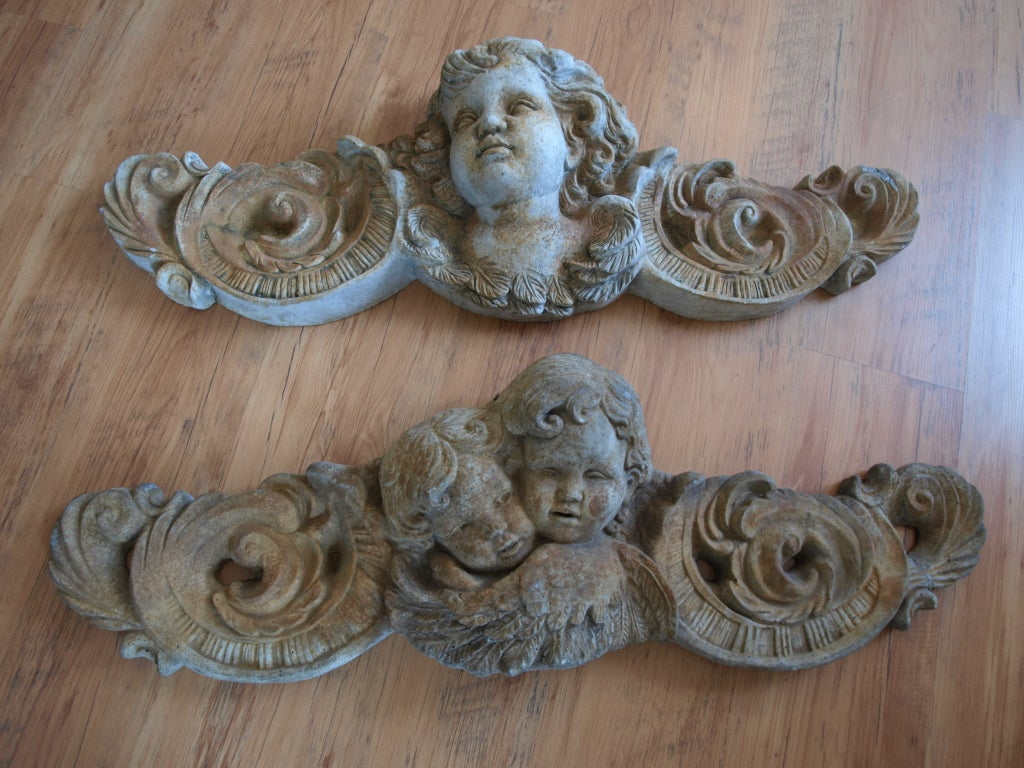 Pair of Mid 20th Century Concrete Angel Architectural Ornaments image 3