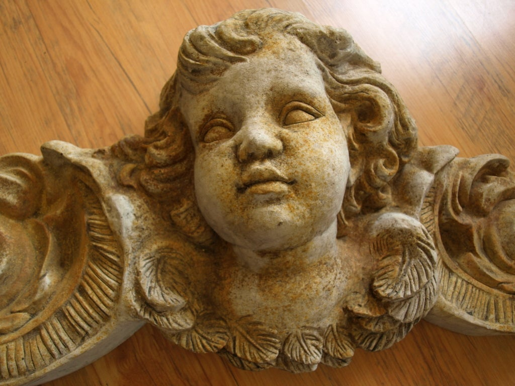 Pair of Mid 20th Century Concrete Angel Architectural Ornaments image 6