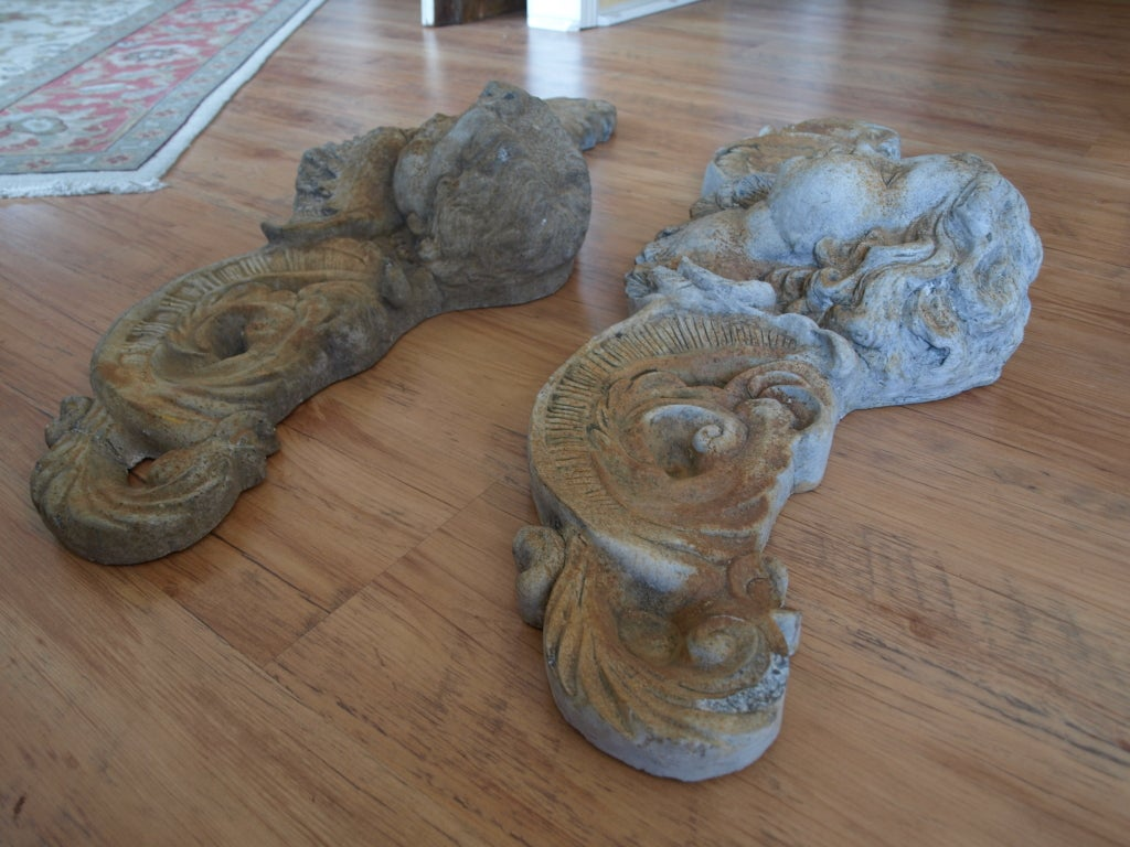 Pair of Mid 20th Century Concrete Angel Architectural Ornaments image 9