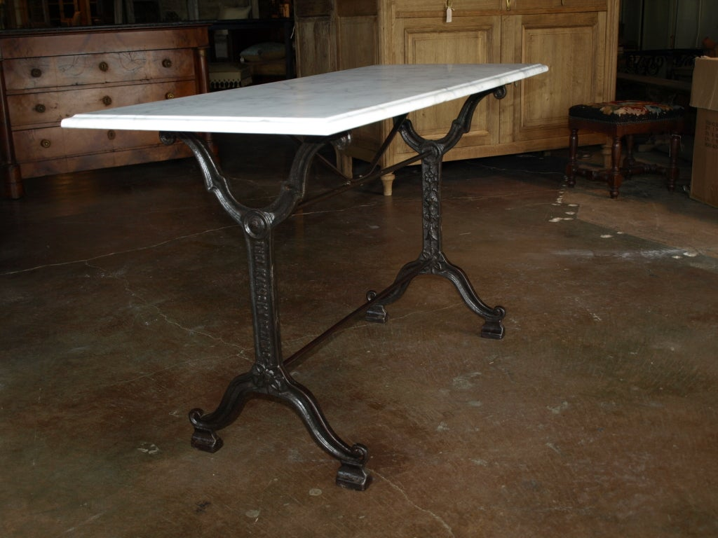 French bistro console table with cast iron base and marble top at french bistro console table with cast iron base and marble top 3 geotapseo Choice Image