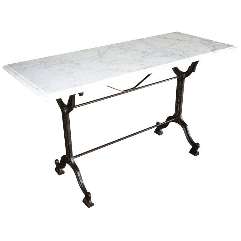 French bistro console table with cast iron base and marble for Cast iron table base marble top