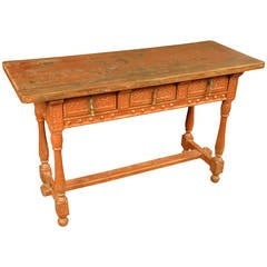 19th Century Spanish Console in Painted Wood