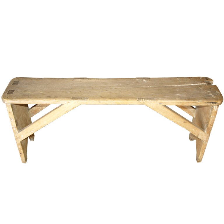 Italian Country Style Bench In Bleached Wood At 1stdibs