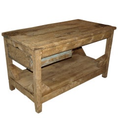 Antique Spanish Industrial Work Table In Bleached Pine